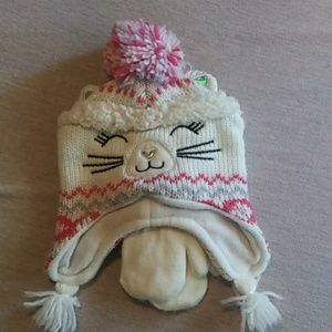 The Childrens Place winter hat and gloves size s